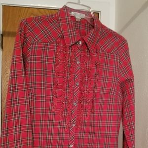 Pendleton Red Plaid Ruffled Blouse
